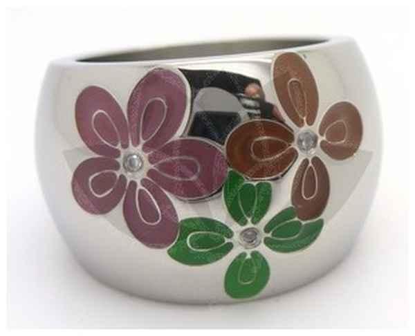 Joyas de acero quirurgico por mayor, anillos. anillo con forma de barrils y flores esmaltadas rosa-Joyas de Acero-Anillos-RA0008