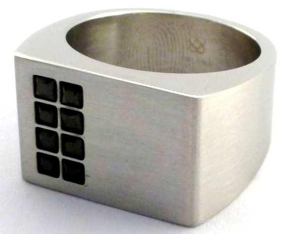 Joyas de acero quirurgico por mayor, anillos. anillo semi cuadrado satinado con 6 circones negros-Joyas de Acero-Anillos-RA0041