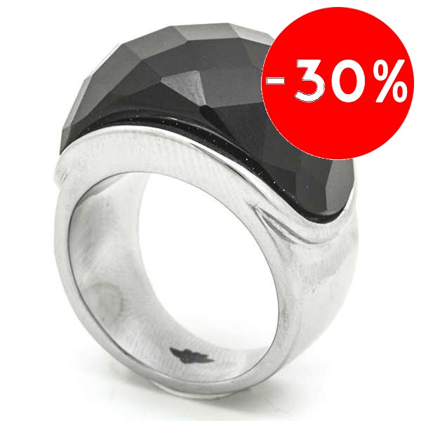 Joyas de acero quirurgico por mayor, anillos. anillo protuberante piedra negra facetada-Súper Ofertas-SOLO POR INTERNET-RA0042