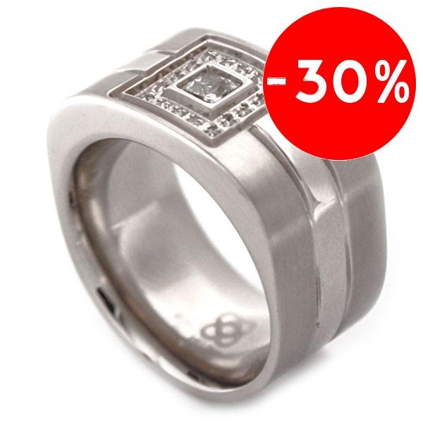 Joyas de acero quirurgico por mayor, anillos. anillo cuadrado con tres capas dos satinadas y un cua-Súper Ofertas-SOLO POR INTERNET-RA0084