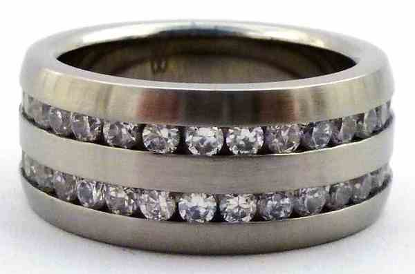 Joyas de acero quirurgico por mayor, anillos. cintillo completo doble satinado con circones blancos-Súper Ofertas-BOLSAS DE OFERTAS-RA0108
