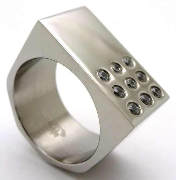 Joyas de acero quirurgico por mayor, anillos. anillo con superficie cuadrada y engaste de 9 circone-Joyas de Acero-Anillos-RA0150