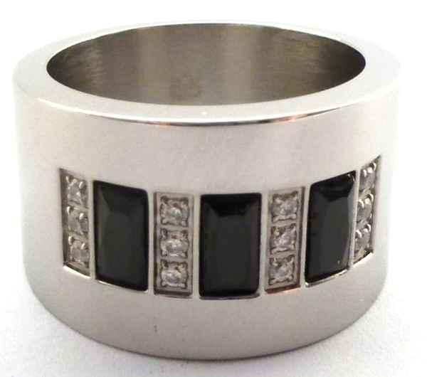 Joyas de acero quirurgico por mayor, anillos. anillo tubo con 3 baagette negros intercalas con 4 li-Joyas de Acero-Anillos-RA0153