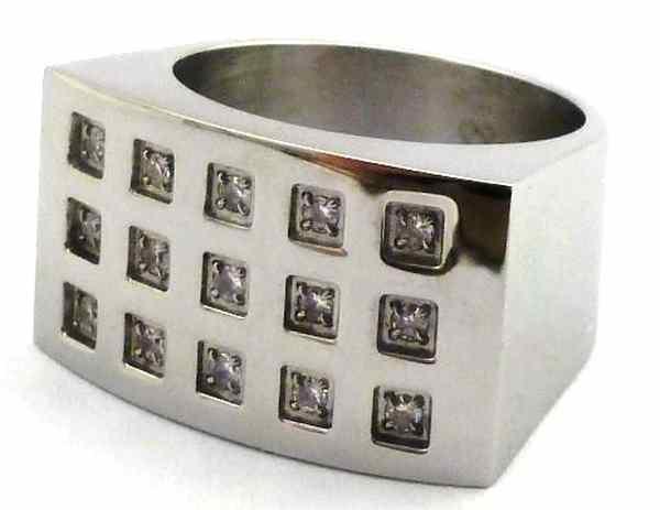 Joyas de acero quirurgico por mayor, anillos. anillo con superficie cuadrada y 18 circones engastad-Joyas de Acero-Anillos-RA0207