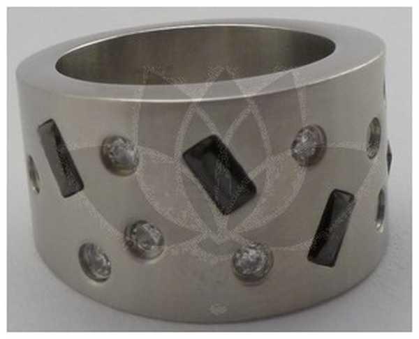Joyas de acero quirurgico por mayor, anillos. anillo satinado grueso con circones blancos y bagette-Joyas de Acero-Anillos-RA0219