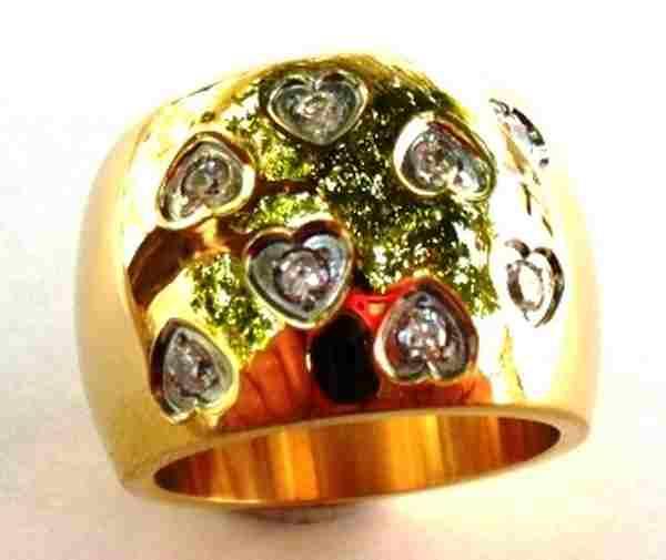 Joyas de acero quirurgico por mayor, anillos. anillo dorado con forma de barril con pequeños corazo-Joyas de Acero-Anillos-RA0250