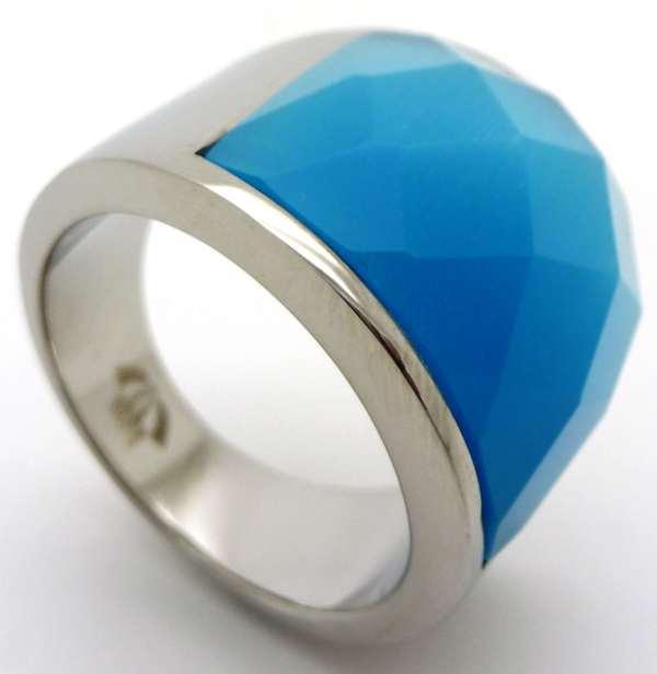 Joyas de acero quirurgico por mayor, anillos. anillo con piedra encajada color turqueza-Joyas de Acero-Anillos-RA0265