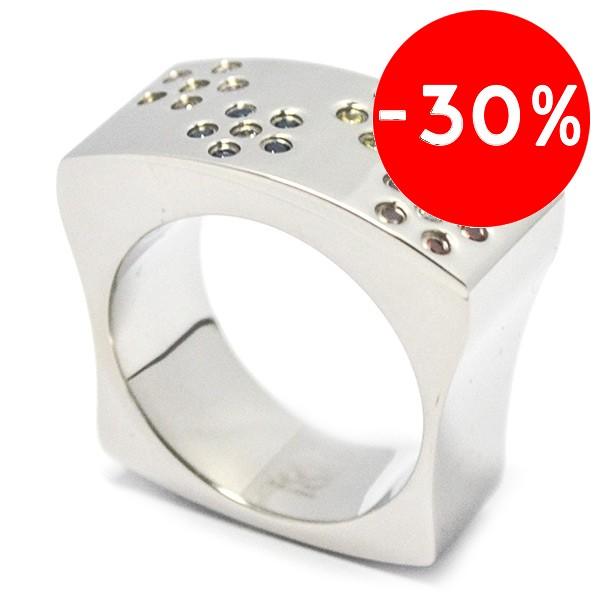 Joyas de acero quirurgico por mayor, anillos. anillo ancho con superficie cuadrada y circones de co-Joyas de Acero-Anillos-RA0282