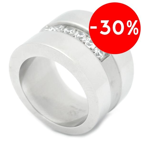 Joyas de acero quirurgico por mayor, anillos. anillo tubo con una linea de circones en medio-Joyas de Acero-Anillos-RA0296