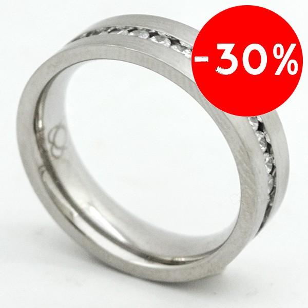 Joyas de acero quirurgico por mayor, anillos. anillo satinado con linea de circones en medio ( cint-Súper Ofertas-SOLO POR INTERNET-RA0322