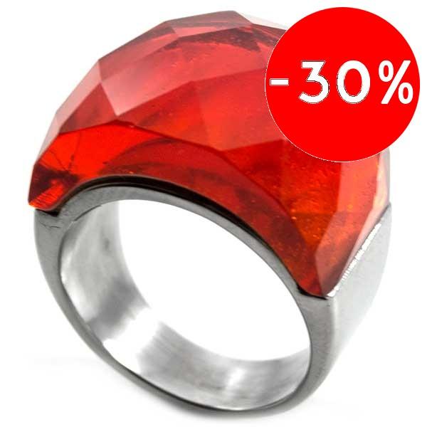 Joyas de acero quirurgico por mayor, anillos. anillo con cristal naranjo facetada que sobresale del-Joyas de Acero-Anillos-RA0336