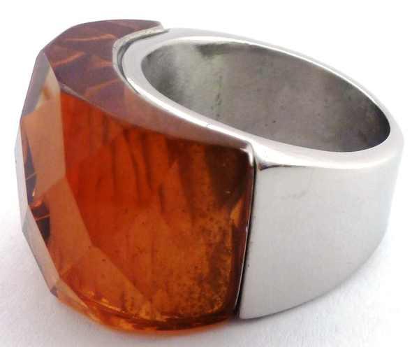 Joyas de acero quirurgico por mayor, anillos. anillo con cristal naranjo claro facetada que sobresa-Súper Ofertas-SOLO POR INTERNET-RA0342