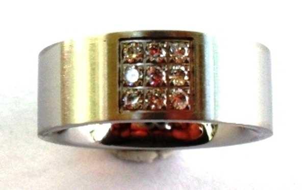 Joyas de acero quirurgico por mayor, anillos. anillo delgado satinado con 9 circones-Joyas de Acero-Anillos-RA0343