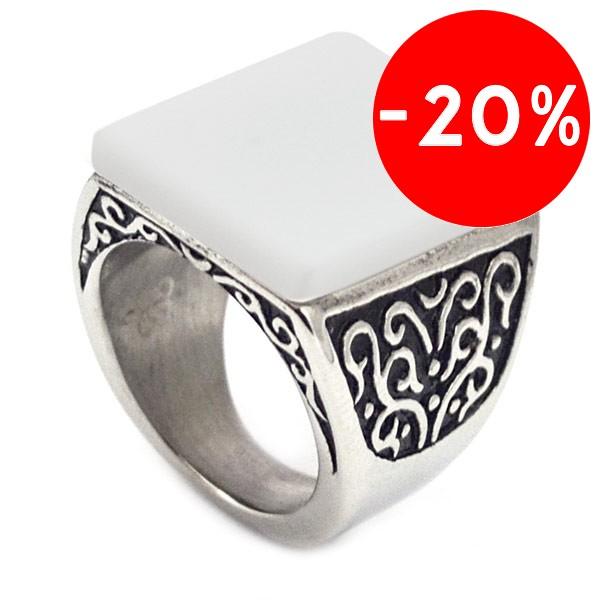 Joyas de acero quirurgico por mayor, anillos. anillo con superficie cuadrada piedra blanca y detall-Súper Ofertas-SOLO POR INTERNET-RA0366L