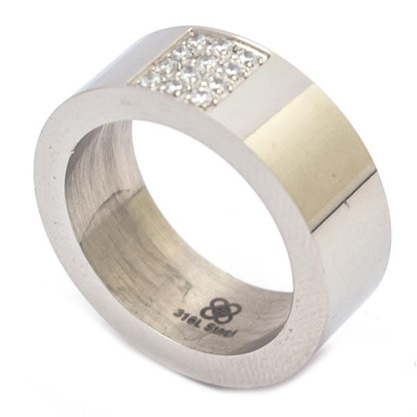 Joyas de acero quirurgico por mayor, anillos. anillo delgado con 12 circones en medio-Súper Ofertas-SOLO POR INTERNET-RA0380