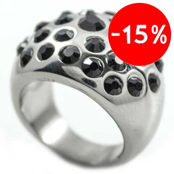 Joyas de acero quirurgico por mayor, anillos. anillo redondeado con circones negros blancas-Súper Ofertas-SOLO POR INTERNET-RA0424