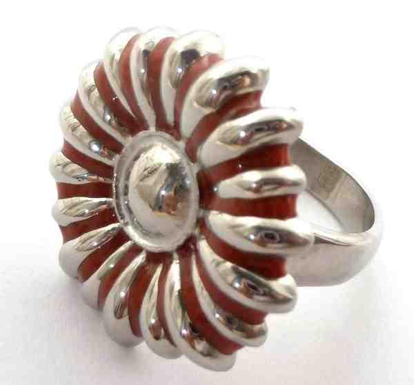 Joyas de acero quirurgico por mayor, anillos. anillo con una margarita sobre el anillo esmaltada ro-Joyas de Acero-Anillos-RA0425L