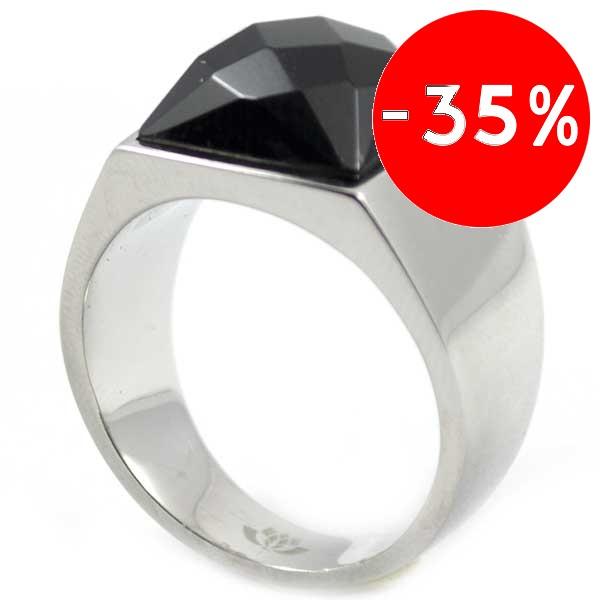 Joyas de acero quirurgico por mayor, anillos. Anillo acero piedra negra facetada-Joyas de Acero-Anillos-RA0463