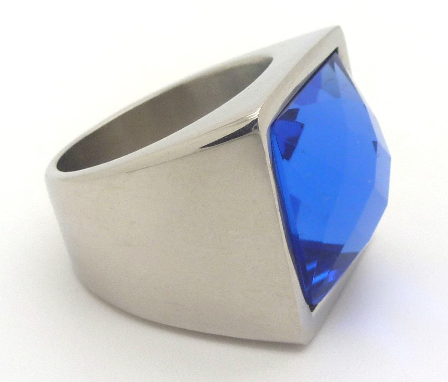 Joyas de acero quirurgico por mayor, anillos. Anillo cuadrado grueso con piedra azul facetada-Joyas de Acero-Anillos-RA0486AL