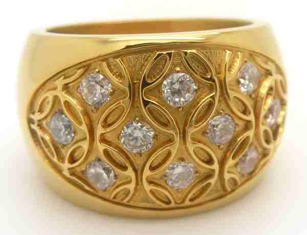 Joyas de acero quirurgico por mayor, anillos. Anillo acero ionizado dorado concabo con circones eng-Joyas de Acero-Anillos-RA0492
