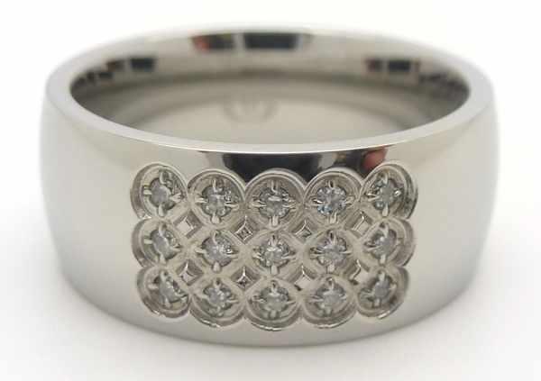 Joyas de acero quirurgico por mayor, anillos. Anillo acero con un cuadrado de circones-Joyas de Acero-Anillos-RA0495