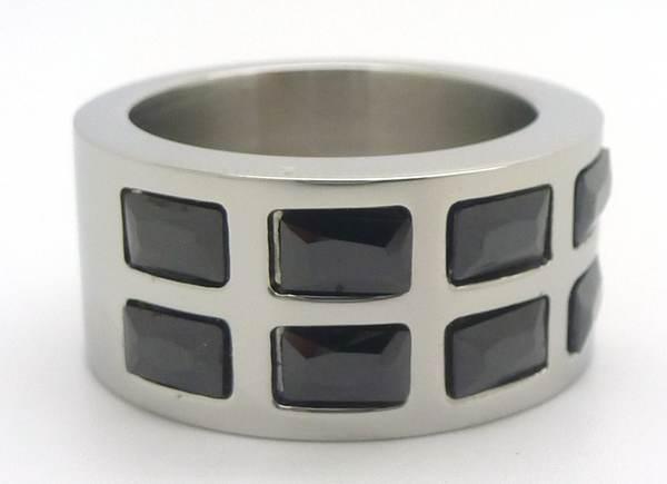 Joyas de acero quirurgico por mayor, anillos. Anillo acero con cricones cuadrados negros-Joyas de Acero-Anillos-RA0498