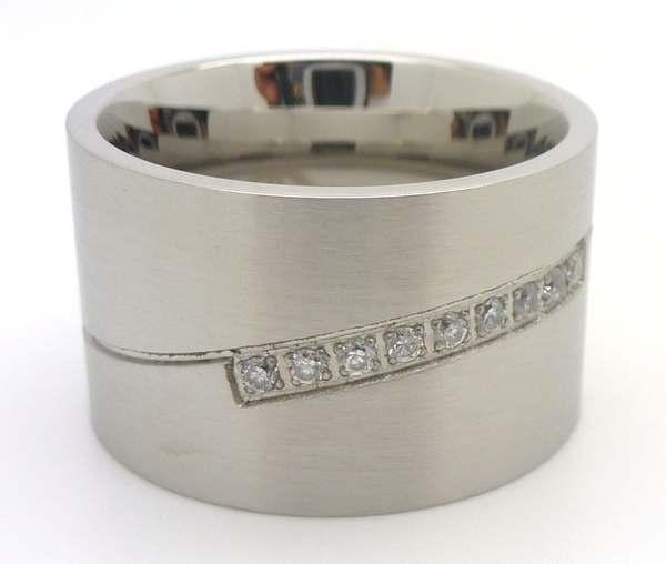 Joyas de acero quirurgico por mayor, anillos. Anillo acero ancho satinado con linea curva de circon-Súper Ofertas-LIQUIDACIÓN -RA0504