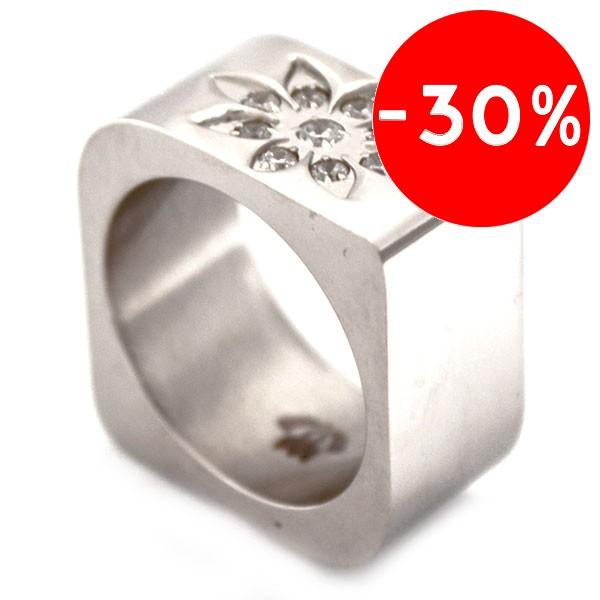 Joyas de acero quirurgico por mayor, anillos. Anillos acero cuadrado con una flor de circones en un-Joyas de Acero-Anillos-RA0529