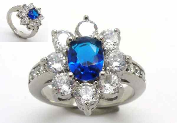 Joyas de acero quirurgico por mayor, anillos. Anillo acero estilo lady Di circones blanco y uno azu-Súper Ofertas-INTERNET-RA0534
