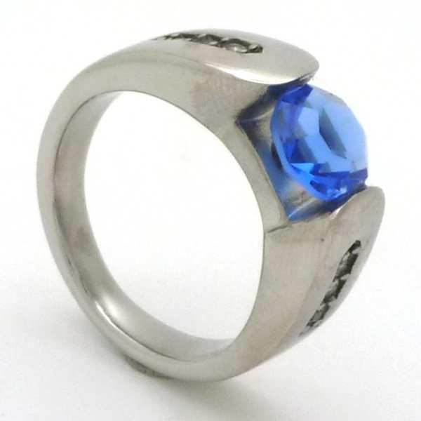 Joyas de acero quirurgico por mayor, anillos. circon redondo de 8 mm azul con tres circones transpa-Súper Ofertas-LIQUIDACIÓN -RA0535O