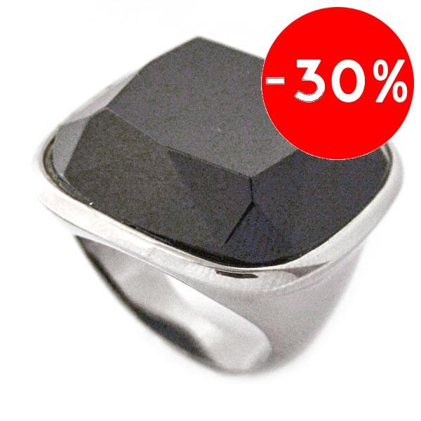 Joyas de acero quirurgico por mayor, anillos. Joyas de acero anillo de cristal negro facetado-Súper Ofertas-Oferta anillos-RA0542