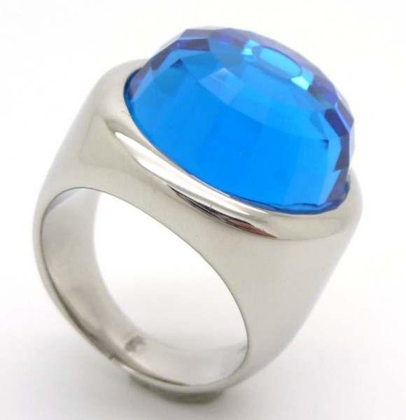 Joyas de acero quirurgico por mayor, anillos. Joyas de acero anillo con cristal celeste facetado-Joyas de Acero-Anillos-RA0544