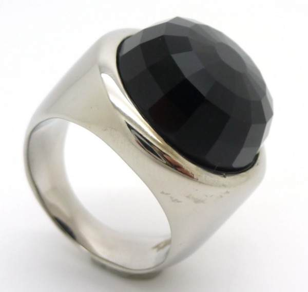Joyas de acero quirurgico por mayor, anillos. Joyas de acero anillo con cristal negro facetado-Joyas de Acero-Anillos-RA0546