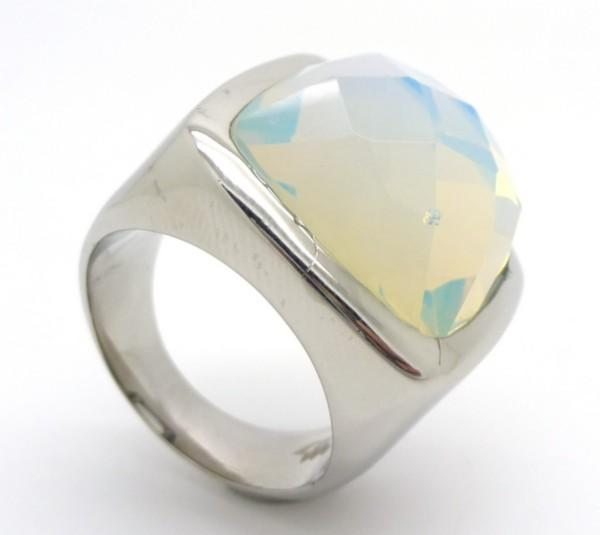 Joyas de acero quirurgico por mayor, anillos. Joyas de acero anillo con cristal blanco aurora borea-Joyas de Acero-Anillos-RA0547