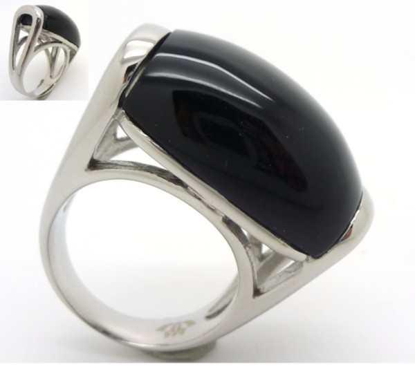 Joyas de acero quirurgico por mayor, anillos. Joyas de acero anillo con cristal negro liso-Joyas de Acero-Anillos-RA0549