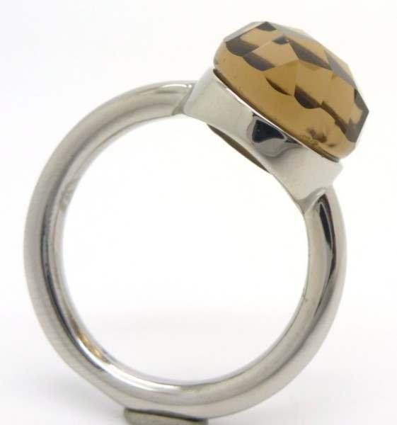 Joyas de acero quirurgico por mayor, anillos. Joyas de acero anillo con piedra café clara faceteada-Joyas de Acero-Anillos-RA0555