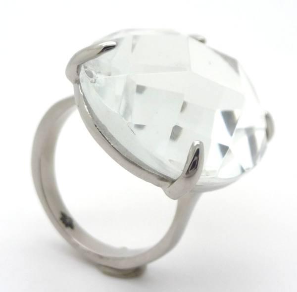 Joyas de acero quirurgico por mayor, anillos. Anillo de acero con cristal transparente ovalado suje-Súper Ofertas-LIQUIDACIÓN -RA0579
