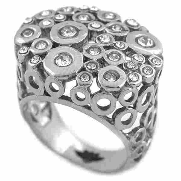 Joyas de acero quirurgico por mayor, anillos. Anillo tipo nido, lleno de cirnones brillantes de dis-Joyas de Acero-Anillos-RA0582