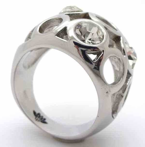 Joyas de acero quirurgico por mayor, anillos. Anillo acero redondeado calado con circones blancos-Joyas de Acero-Anillos-RA0585
