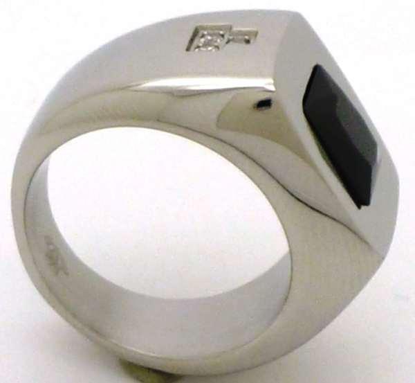 Joyas de acero quirurgico por mayor, anillos. Anillo acero grueso con superficie cuadrada cristal n-Joyas de Acero-Anillos-RA0606N