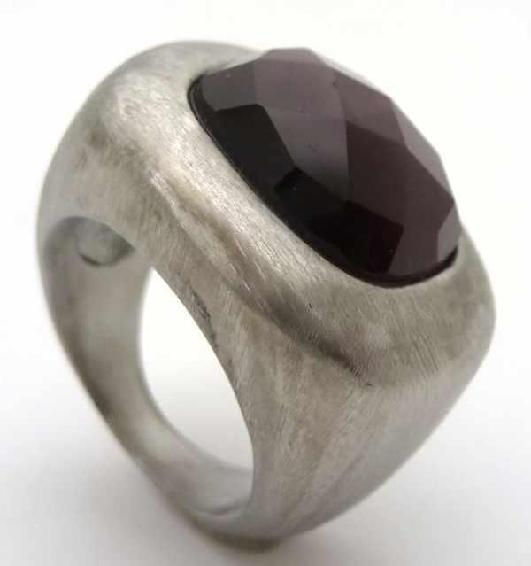 Joyas de acero quirurgico por mayor, anillos. Anillo acero rayado con superficie cuadrada y cristal-Joyas de Acero-Anillos-RA0614L