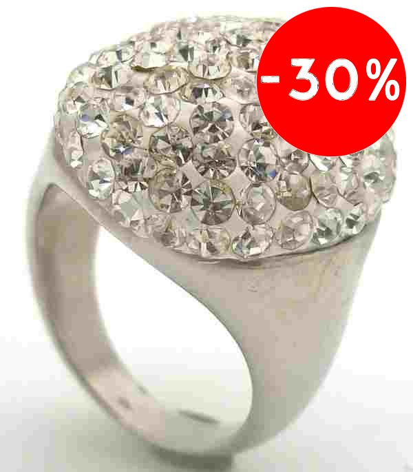 Joyas de acero quirurgico por mayor, anillos. Anillo acero redondo con cristales blanco-Súper Ofertas-SOLO POR INTERNET-RA0625