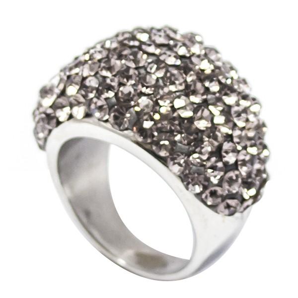 Joyas de acero quirurgico por mayor, anillos. Superficie masa alemana con circones gris, base de pl-Joyas de Acero-Anillos-RA0627G