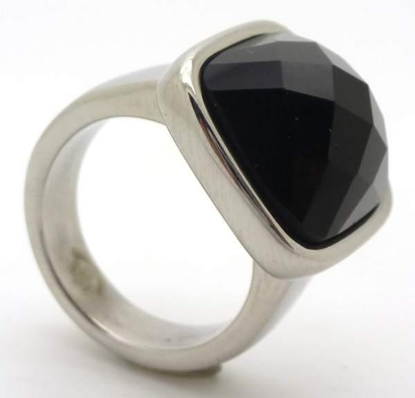 Joyas de acero quirurgico por mayor, anillos. Anillo acero delgado con cristal negro facetado-Joyas de Acero-Anillos-RA0635