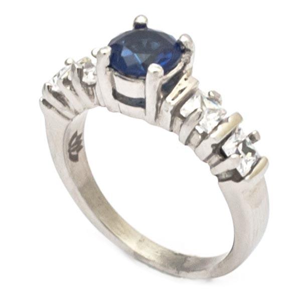 Joyas de acero quirurgico por mayor, anillos. Anillo acero estilo solitario circon azul en medio y-Joyas de Acero-Anillos-RA0637