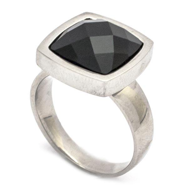 Joyas de acero quirurgico por mayor, anillos. anillo acero con cristal negro facetado. De 15mm el c-Joyas de Acero-Anillos-RA0638