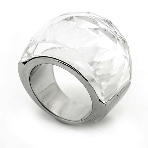 Joyas de acero quirurgico por mayor, anillos. Anillo acero con cristal brillante transparente Joyas-Súper Ofertas--RA0640L