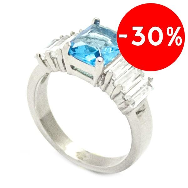 Joyas de acero quirurgico por mayor, anillos. Medio cintillo con piedra azul central y circones bag-Súper Ofertas-SOLO POR INTERNET 1-RA0643