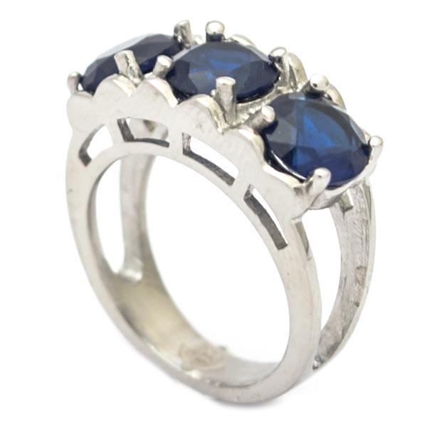 Joyas de acero quirurgico por mayor, anillos. Anillo medio cintillo de tres circones azules de 7mm-Joyas de Acero-Anillos-RA0650