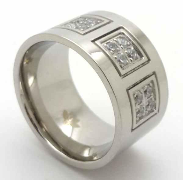 Joyas de acero quirurgico por mayor, anillos. Anillo con tres cuadrados con circones. De 13 mm de a-Joyas de Acero-Anillos-RA0654